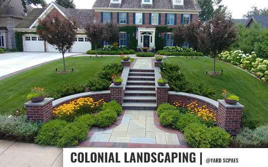 Colonial style landscaping for residential homes