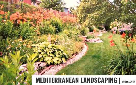 Mediterranean style landscaped back yard for residential homes