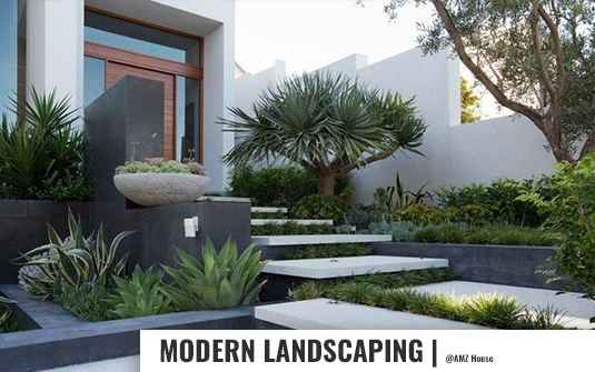 Modern style landscaped residential home front yard in orange county