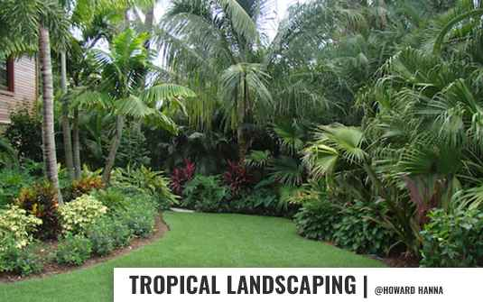 Tropical style backyard landscaping design with trees and flowers in orange county