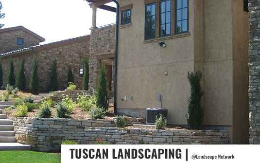 Tuscan style front yard landscaping design for residential home in orange county